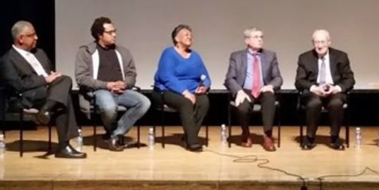 Filmmaker Clennon L. King (far left) participates in a post-screening discussion at MassArt.