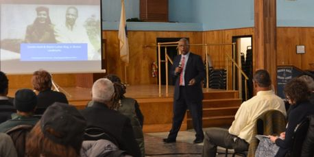 Clennon L. King presents to MLKBoston at Prince Hall in Grove Hall on March 19, 2018.