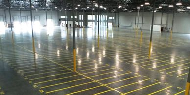 In-plant industrial warehouse striping
