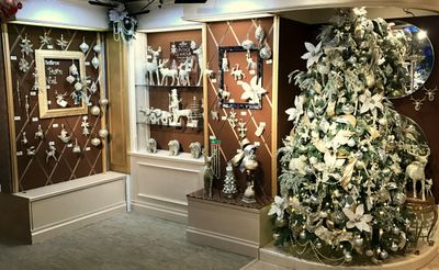 Kurt Adler Christmas Showroom in New York City featuring the Vintage Glamour Collection of Handmade Christmas Ornaments by Eliot Raffit in Glass Glitter.