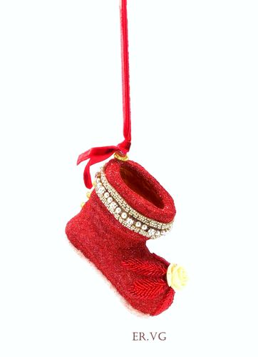 Eliot Raffit Christmas Red Velvet Santa's Boot Glass Glitter Handmade in the USA Art Deco Beading