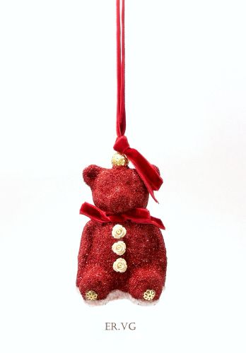 Eliot Raffit Red Velvet Teddy Bear Christmas Ornament with Red Velvet Trim for hanging Handmade