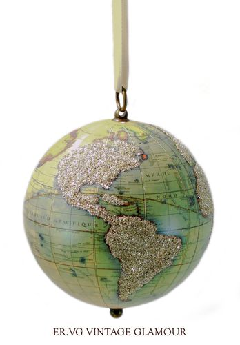 Eliot Raffit Christmas Vintage Globe in Silver Glass Glitter Handmade in the USA Hanging Ornament