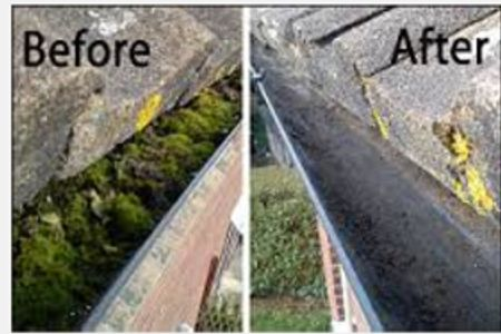 Gutter before & after being cleaned