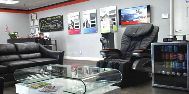 AVALOS WINDOW TINTING WAITING ROOM WITH FREE MASSAGE, FREE SODAS AND FREE WIFI ONLY BY AUTO TINT