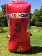 Cash Cube- hands go in through side holes to catch what's inside as it blow around.
