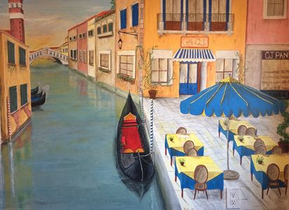 Mural of gondolas and out door cafe with blue umbrella of Venice, Italy by artist Dalia Garcia.