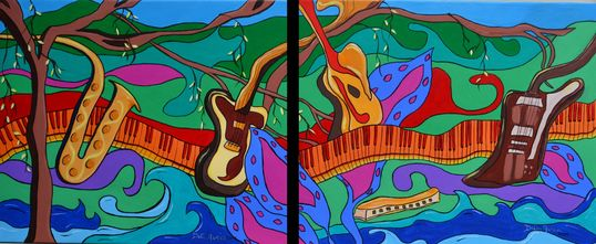 Colorful Musical Painting by Dalia Garcia. Singer/songwriter, Garcia and Scott, Julio Iglesias