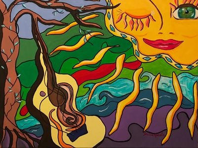 Colorful, acrylic painting of the sun with guitar by Dalia Garcia called Green Eyed Lady.
