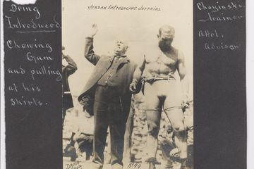 Antique Photo pre fight of Frank Gotch being introduced by Billy Jordan with Robert Fitzsimons in th