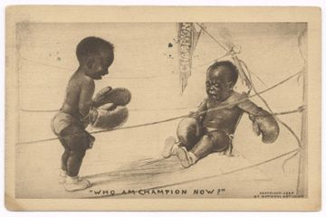 Cartoon Image Postcard from 1910 of 2 babies boxing representing Jack Johnson and Sam Langford with