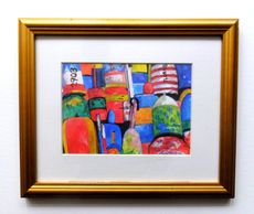 gold framed print, buoys
