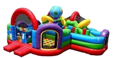 inflatable wacky world bounce house obstacle course slide