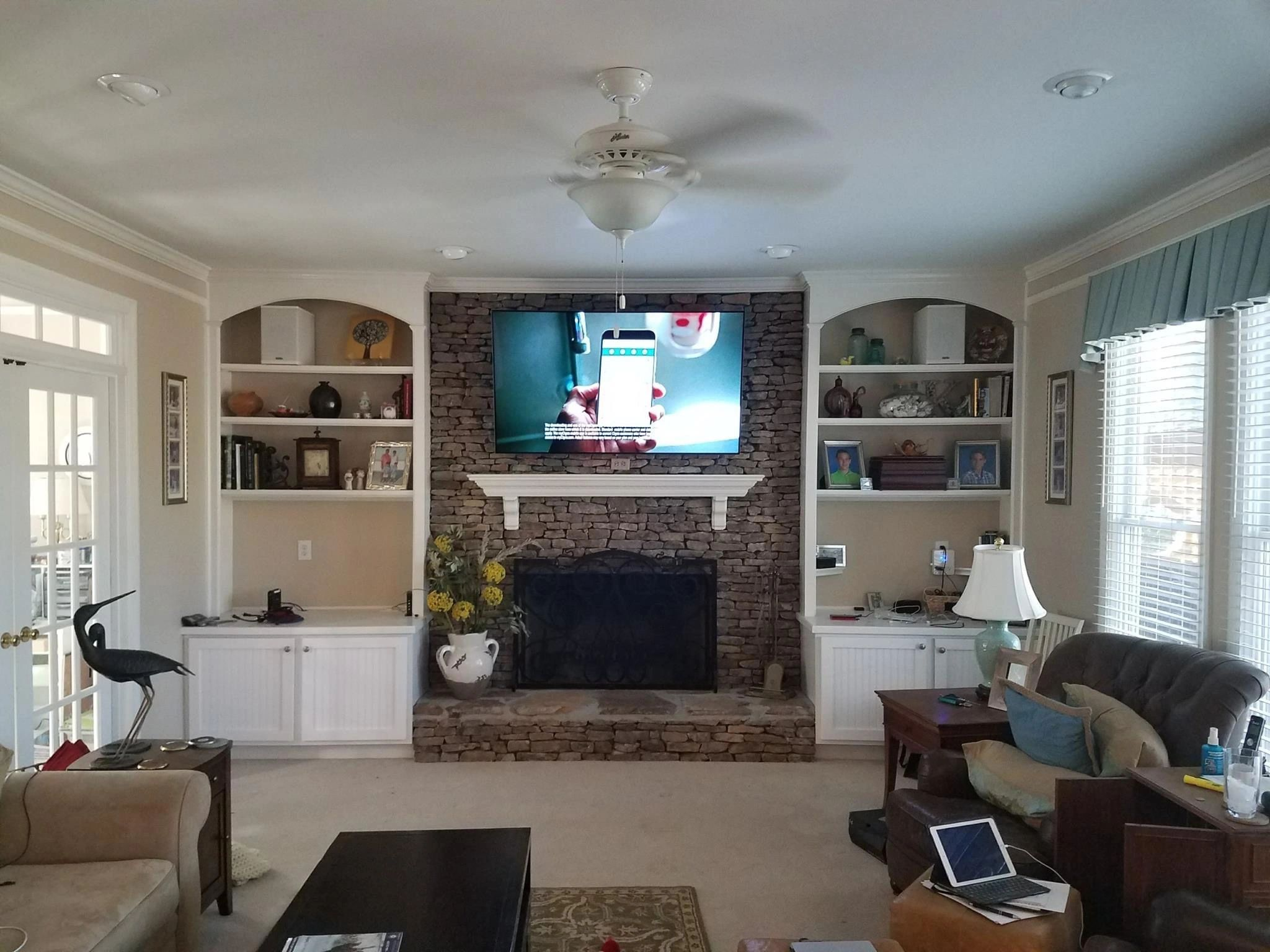 Living Room, TV, TV mount, TV over fireplace, media room, control system, streaming, entertainment,
