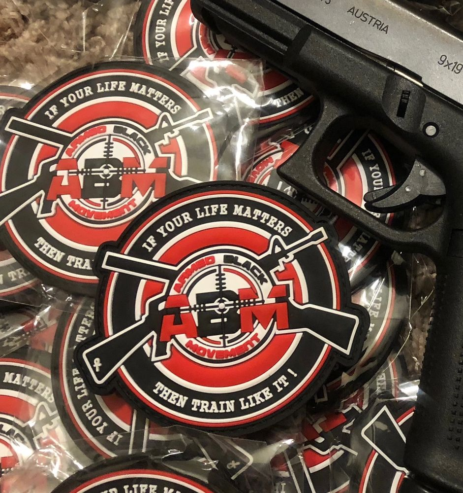 ARMED BLACK MOVEMENT'S LOGO PVC PATCH WITH VELCRO HOOK & LOOP BACKING