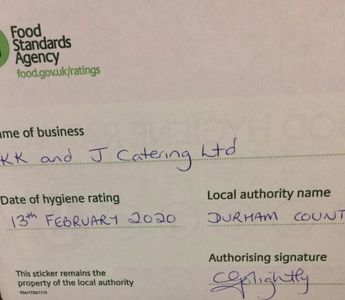 Food Hygiene Rating Certificate issued by Durham County Council.