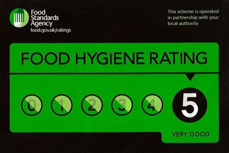 "Food Hygiene Rating Certificate ""5 Very Good"" Issues by Durham County Council."