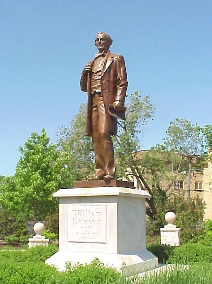 Figurative Bronze statue, 8 feet tall, William Dunton, Founder of Arl. Hts, IL,  2001