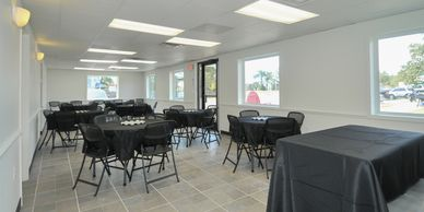 we can accommodate with round or long tables in white or black decor