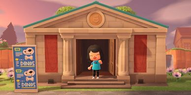 an image of my custom avatar from nintendo's animal crossing game in front of the in-me museum.