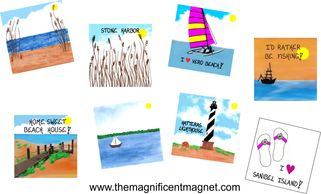 Seaside Theme Magnets, Beach Scenes, Lighthouse, Sailing, Beach Shoes, Fishing Boat