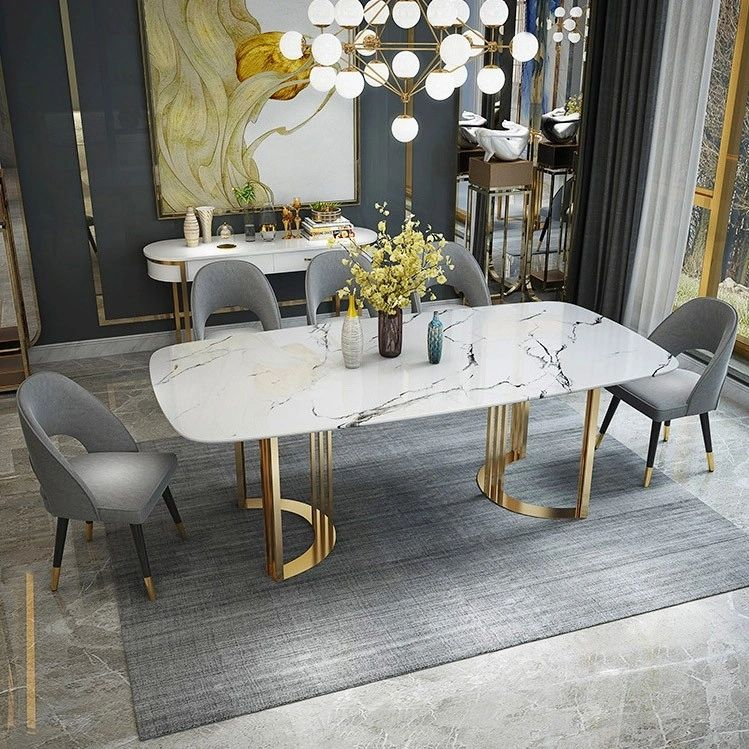 Faux Marble Dining Table Gold Dining Table Rectangular Stainless Steel Dining Table 6 Seat