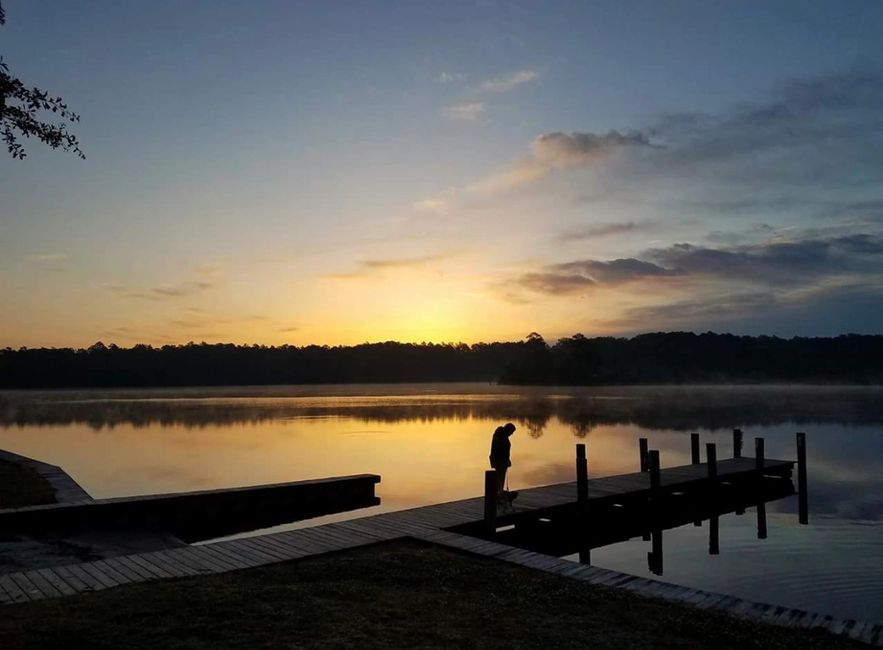 One of Southern Points residents taking a peaceful stroll at the boat landing....picture perfect!