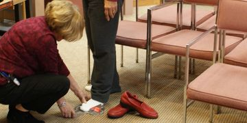 We measure your feet for a pair of dress or casual womens shoes to be fitted properly for comfort