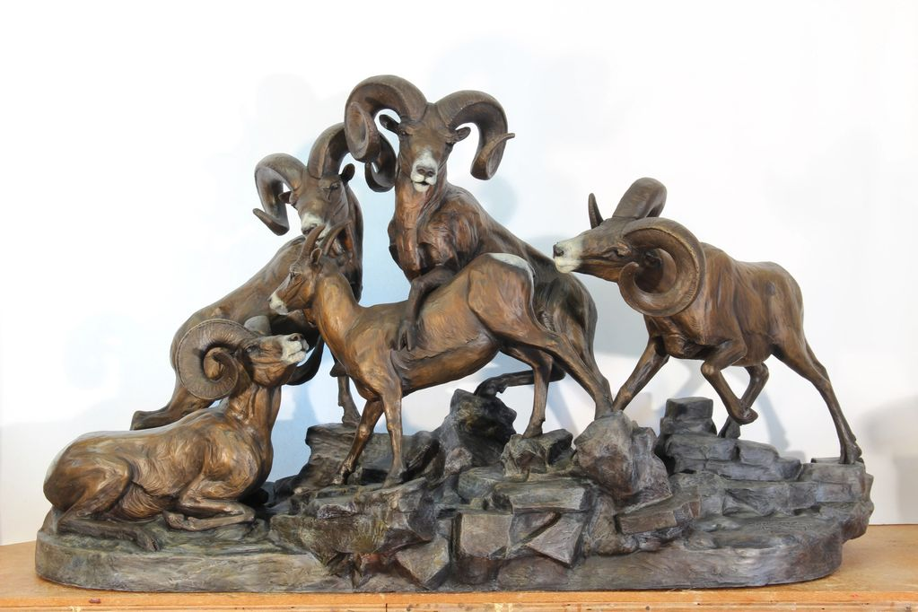 Bighorn Sheep bronze, Sheep sculpture, summit meeting, bronze bighorn sheep, monument sheep