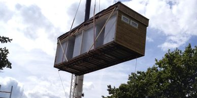 PPW Trading Installation in conservation area of timber clad modular building.