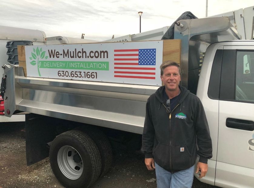 Al Schmidt with new delivery / installation truck for We-Mulch.com
