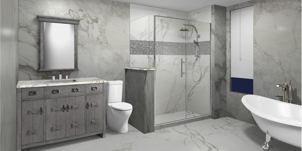 Customizable bathroom design tool to change countertops, cabinets, flooring, showers and tubs