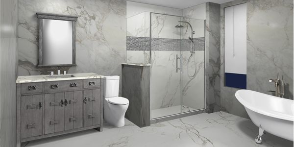 Customizable bathroom design tool to change countertops, cabinets, flooring, shower and tub