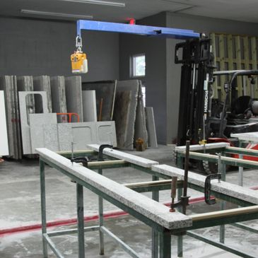 Interior of the countertop fabrication facility