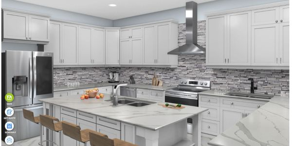 Customizable kitchen design tool to change countertops, cabinets, flooring, appliances