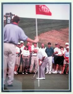 Arnold Palmer putting at Oak Valley Golf Course, Advance, NC. Golf course and driving range