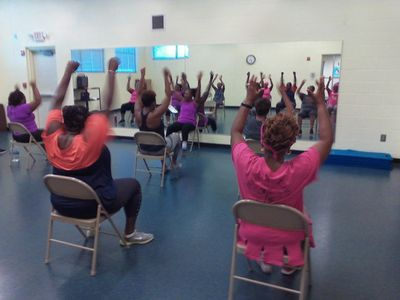 One of our chair aerobics fitness classes in Douglasville, GA