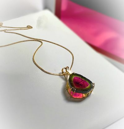 "Patented, ""Three Dimensional"" Watermelon Tourmaline Pendant Set in 18k Rose Gold - Copyright © Natalie Lambert Designs - All Rights Reserved. https://watermelontourmalinejewelry.com/"