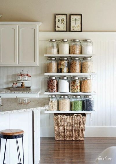 Decanting bulk foods in beautiful containers provides a healthy, beautiful update to any kitchen.