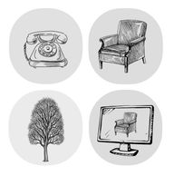 Composite image of telephone, chair, tree and computer termninal, each image a line drawing on a coloured circle.