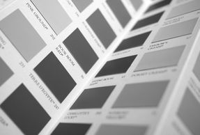 Set of colour samples from paint supplier
