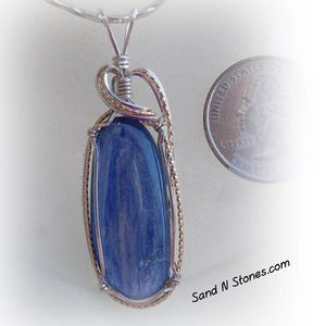 Kyanite wire wrapped gemstone pendant