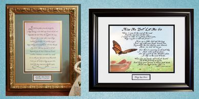 Sympathy and Memorial poems and verses of comfort and hope. Framed art and uplifting sentiments.