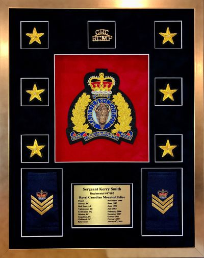 RCMP retirement plaque.  RCMP crest with RCMP pins, rank epaulettes and stars to snow service along with personalised sublimated plate