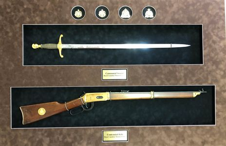 RCMP custom framing.  RCMP Centennial Rifle and RCMP Centennial Sword.  RCMP badge
