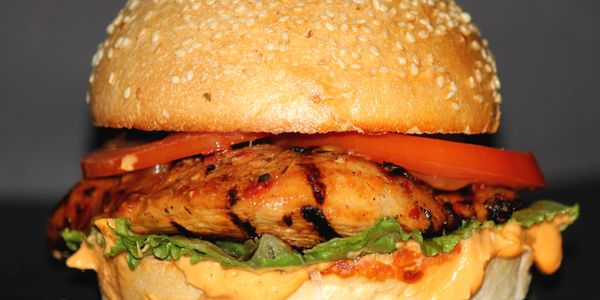 Chicken Burger,  Fowl Play, Burger Joint, Chicken Chilli fillet Breast, Peri Peri, Hand-Cut Chicken Breast.