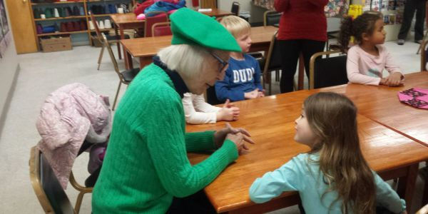 Senior Center member with preschoolers