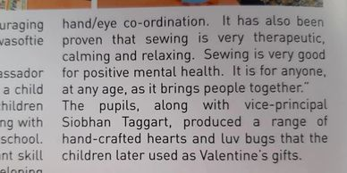 Omagh Integrated Primary School sews in a Global Sewing Party