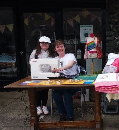 Cara and I doing a sewing demonstration at the An Creagán centre. #Omagh #teachsewing #teachchildrentosew #learntosew