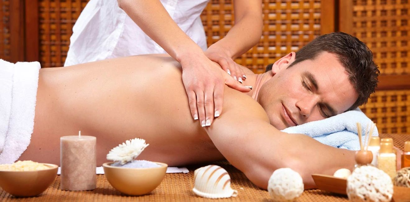 head on towel and Body Massage with candle